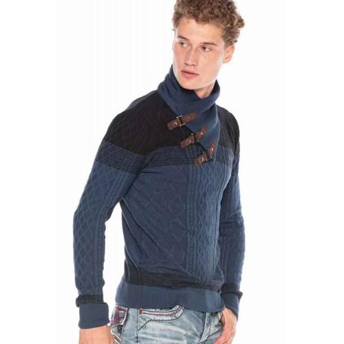 Pánsky sveter CIPO & BAXX CP226 INDIGO