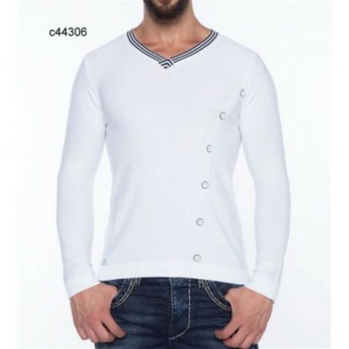 Pánsky sveter CIPO & BAXX 44306 WHITE