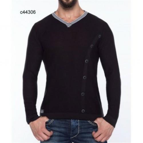 Pánsky sveter CIPO & BAXX 44306 BLACK