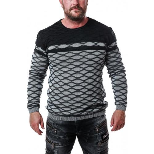 Pánsky sveter CIPO & BAXX CP228 GREY